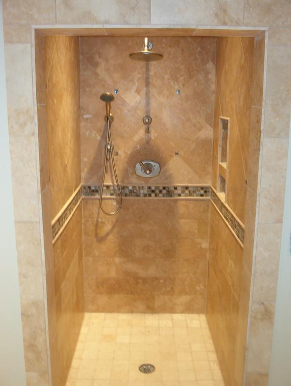 This Is A Great Example Of Small Shower Look How That Horrible Border Cuts The In Half It Would Ve Been Much Better To Just Leave Off