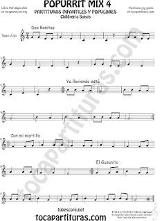 Mix 4 Partitura de Saxofón Alto y Sax Barítono Dos Ranitas, Ya lloviendo está, Con mi Martillo, El Gusanito Popurrí Mix 4 Sheet Music for Alto and Baritone Saxophone Music Scores