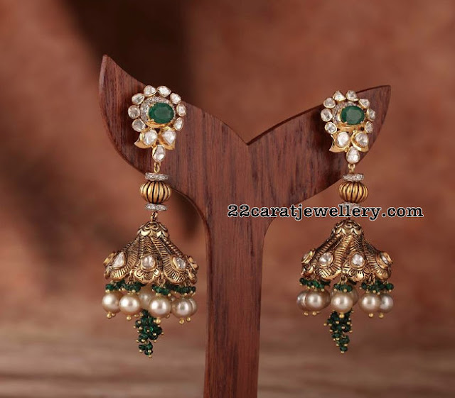 Emerald Jhumkas and Pachi Chandbalis