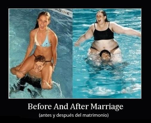 antes y después del matrimonio.