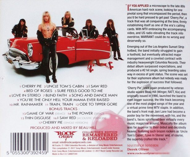 WARRANT - Cherry Pie [Rock Candy remastered +5] (2017) back