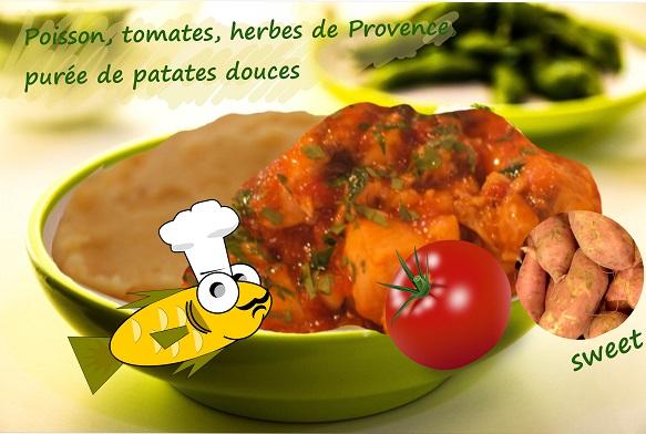 poisson aux tomates, oignons, herbes de provence, purée de patates douces (sans gluten)