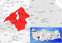 Isparta ili ve ilçeleriyle birlikte çevre il ve ilçeleri de gösteren harita