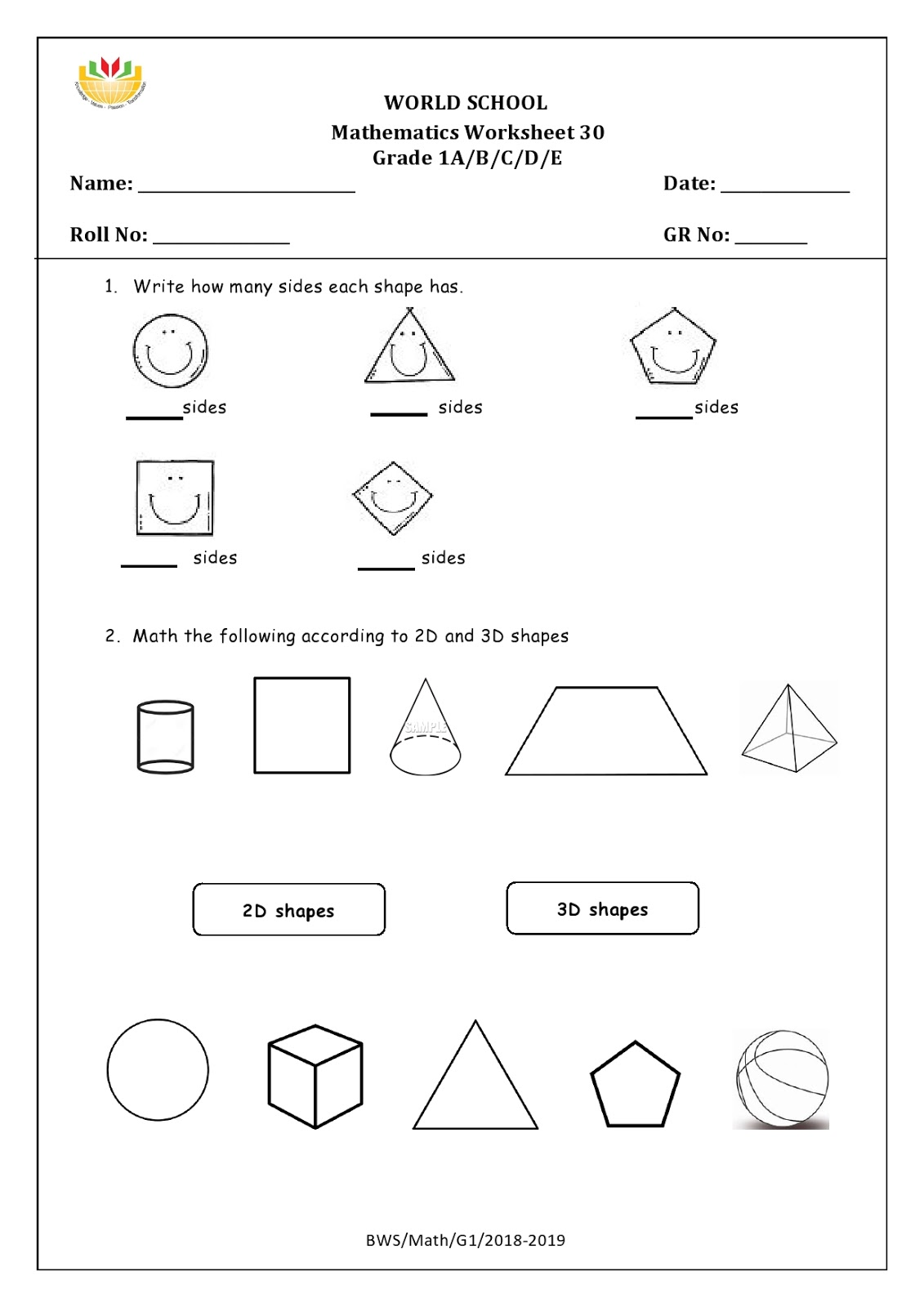 Birla World School Oman Homework For Grade 1 As On 23 04