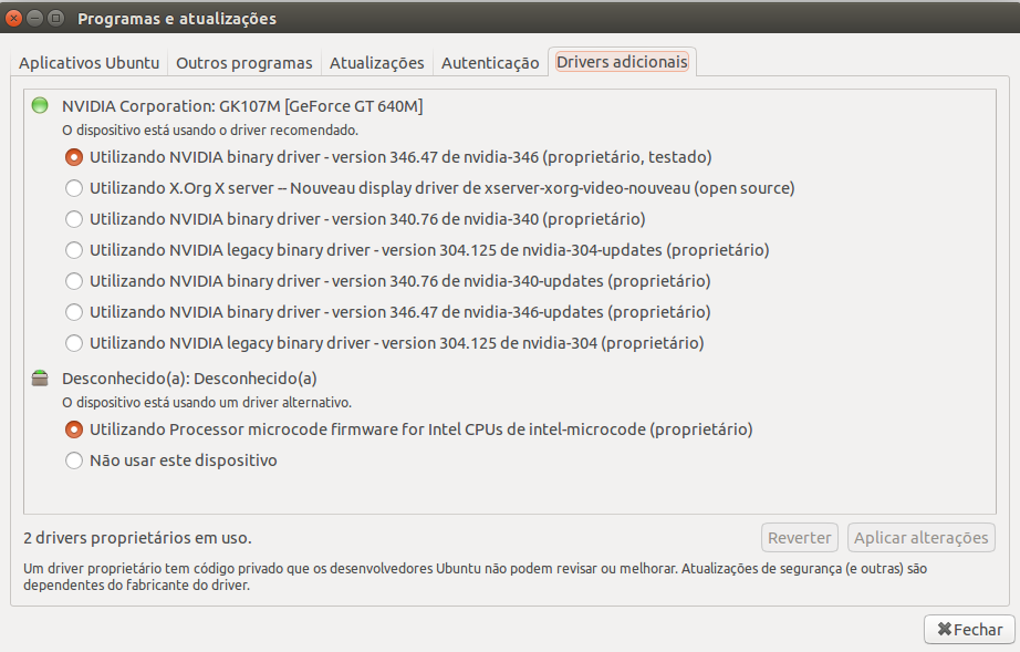 Gerenciador de Drivers do Ubuntu 15.04