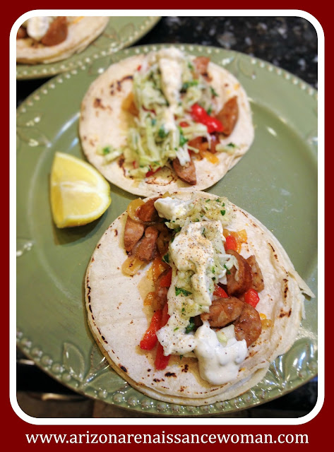 Andouille Sausage Tacos with Apple-Cabbage Slaw and Spicy Aioli - The Taco Project