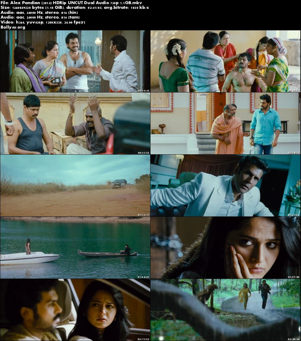 Alex Pandian 2013 HDRip 500MB UNCUT Hindi Dubbed Dual Audio 480p Download