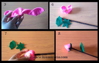 Cara membuat mawar kuncup dari kain flanel part 2