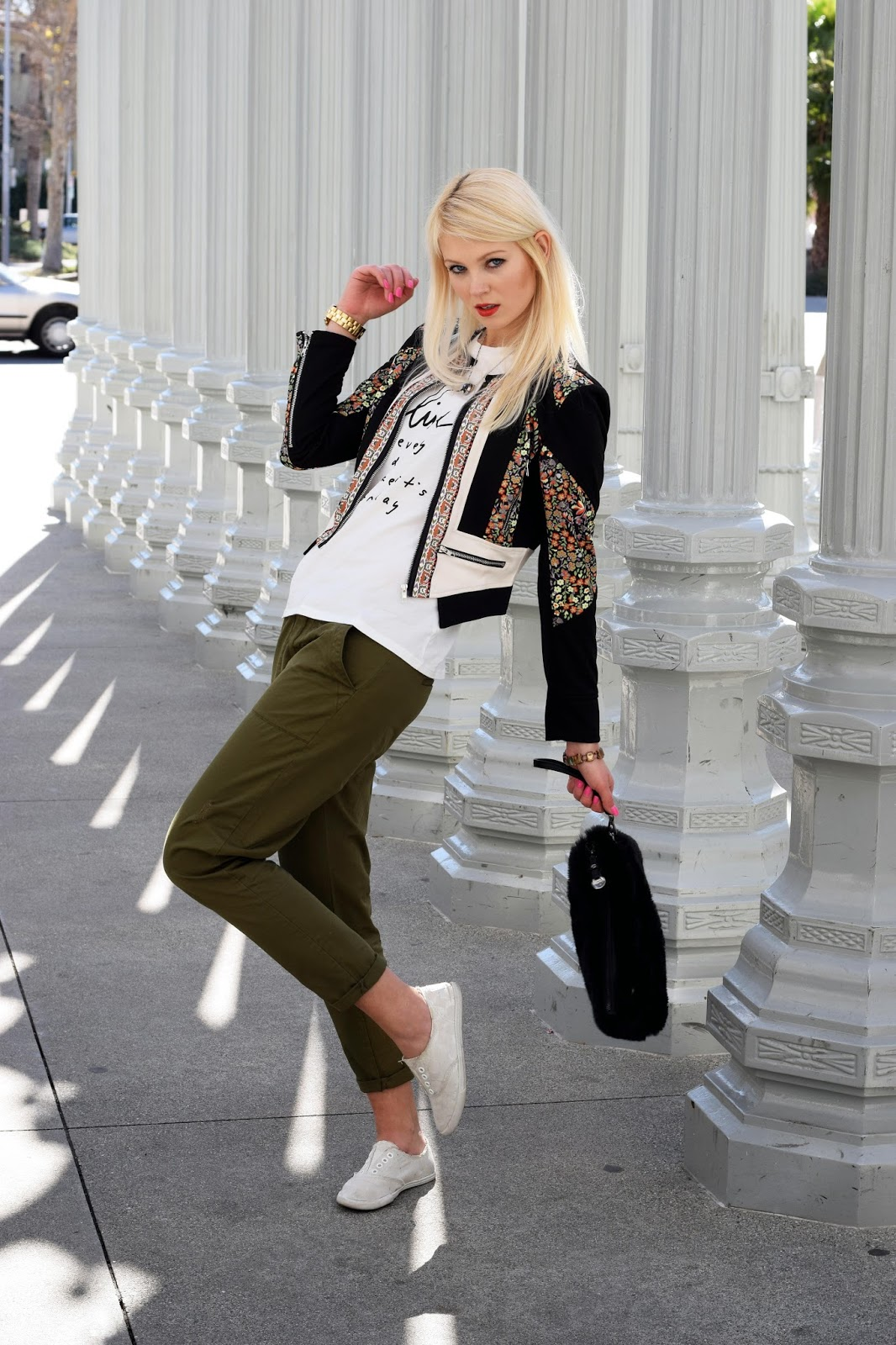 casual look, cargo pants, coach sneakers, printed top, printed tank top, top, shein jacket, shein, floral jacket