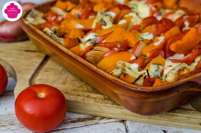 Gratin de patates douces, potimarron, tomates au bleu d'Auvergne