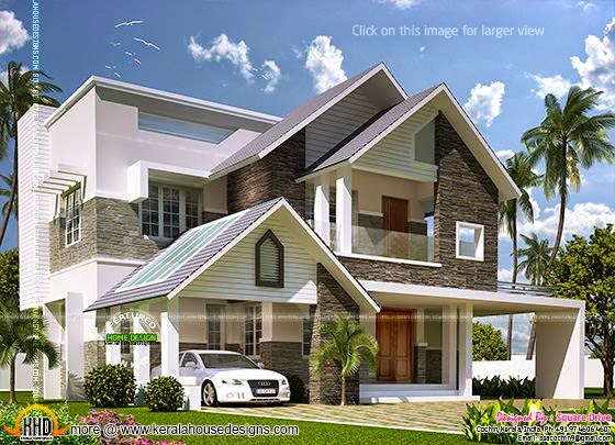 Modern sloping roof villa