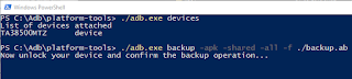 Android backup adb device backup