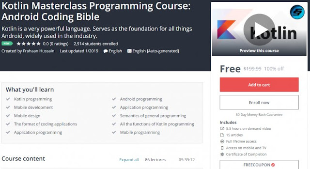 100% Off] Kotlin Masterclass Programming Course: Android Coding