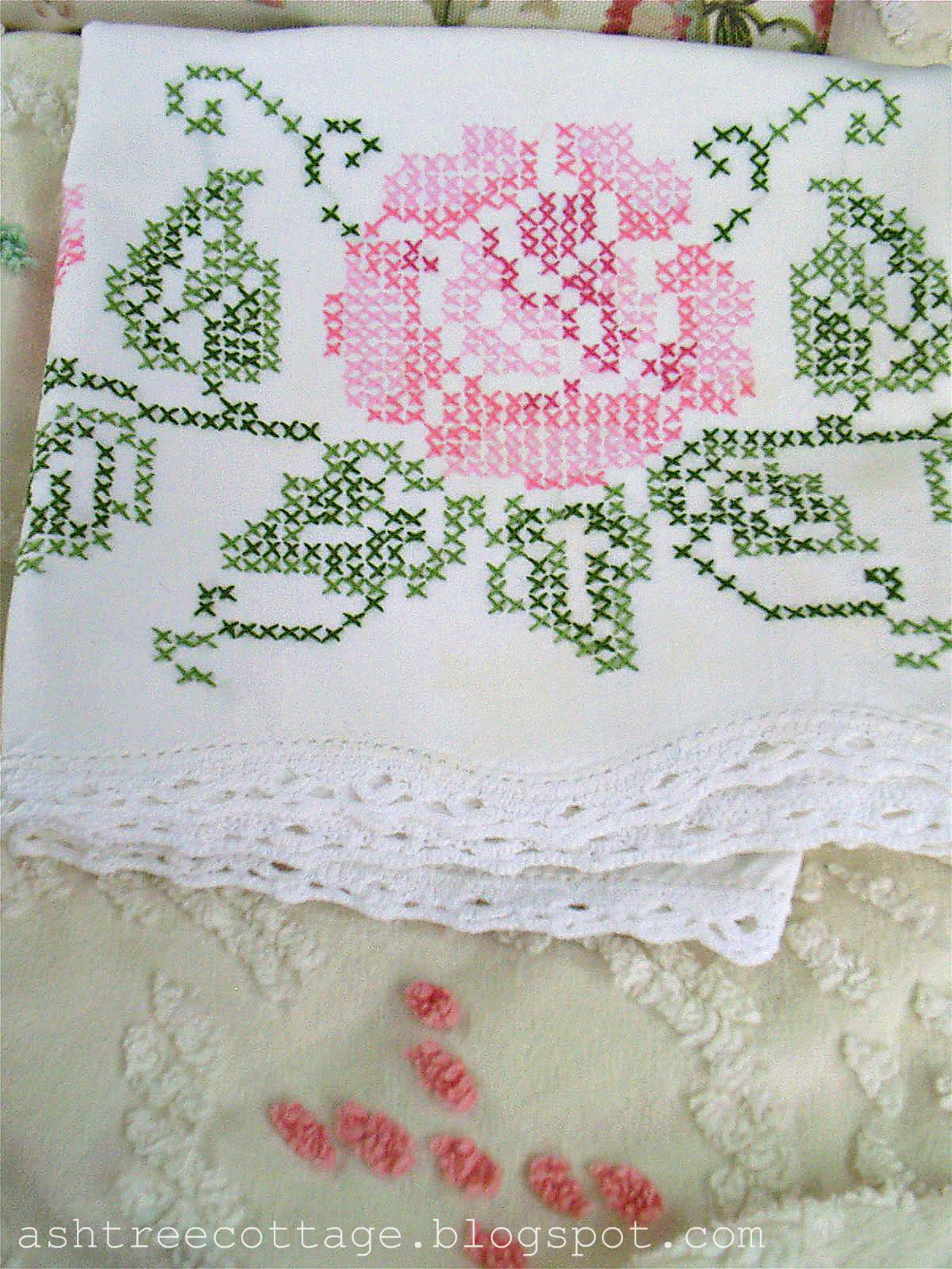 Ash Tree Cottage Sweet Dreams Pink Pillow With Embroider Dream Hand Embroidered And Cross Stitched Cases