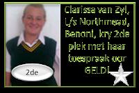 Clarissa van Zyl, L/s Northmead, Benoni, blink uit met 'n 2de plek as redenaar met haar toespraak onder die ATKV se 2013 tema GELD!