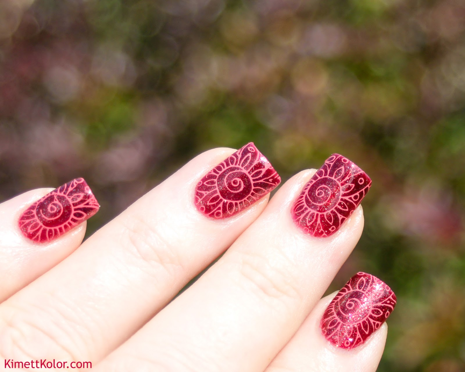 KimettKolor Crimson Flowers Stamping Nail Art