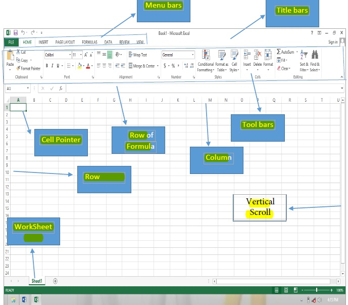 parts of microsoft excel 2013