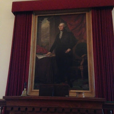 photo and painting of Abraham Lincoln at the Old State Capitol Building in Springfield Illinois