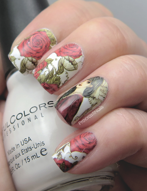 Nail Art // Romantic and Gothic Rose Nails Decals - ProcrastiNails