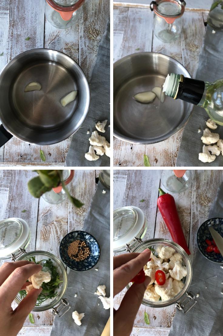 Preparación coliflor encurtida