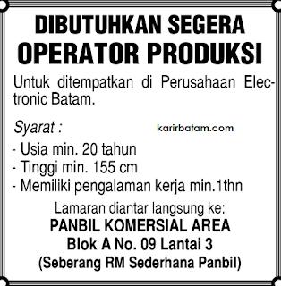 Lowongan Kerja Operator Produks Panbil Komersial Area
