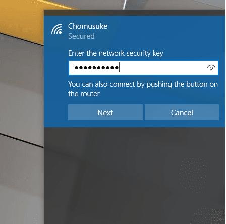 Memasukkan Password WIFI