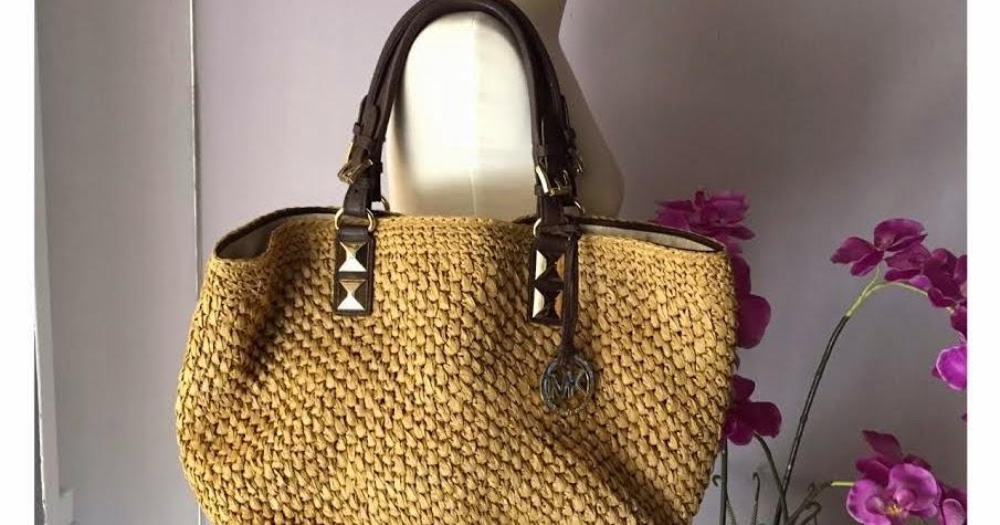 650b657d59381e I Want Vintage   Vintage Designer Handbags: MICHAEL Michael Kors Santorini  Large Basket Straw Tote-Dark Walnut