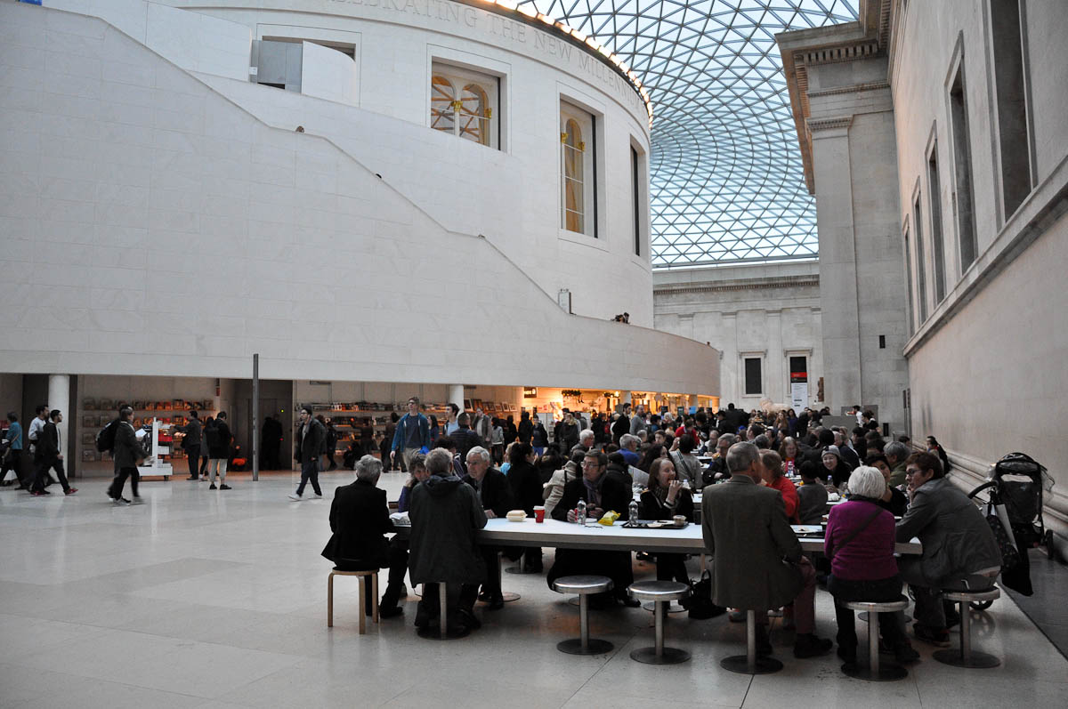 Having coffee in the courtyard, The British Museum, London, UK