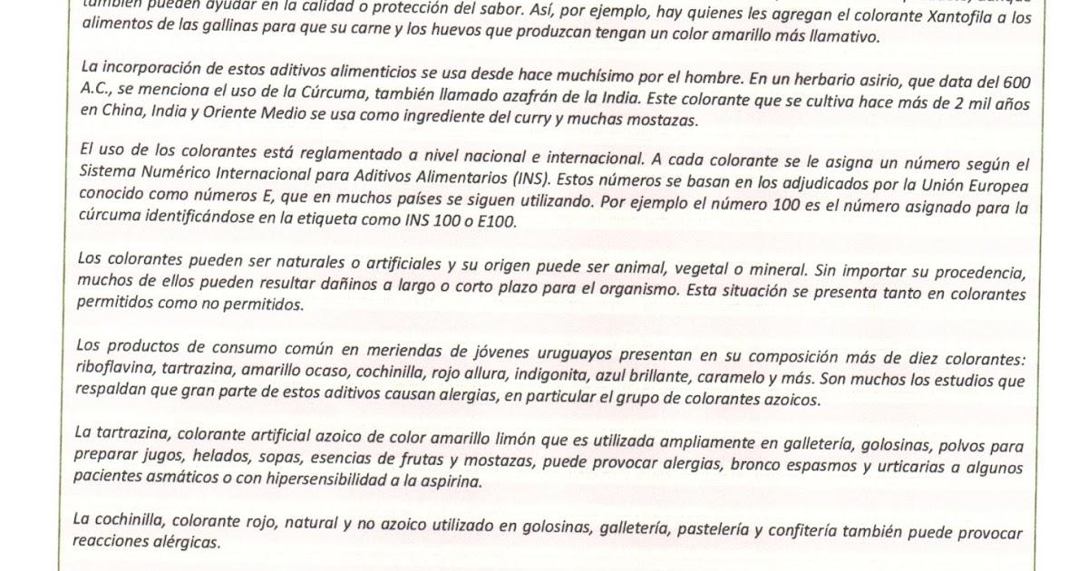 QUIMICA: Actividad sobre COLORANTES