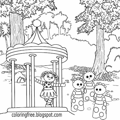 CBeebies BBC TV In the night garden coloring easy drawing ideas for beginners kids roundabout ride