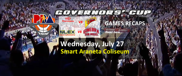 List of PBA Games Wednesday July 27, 2016 @ Smart Araneta Coliseum