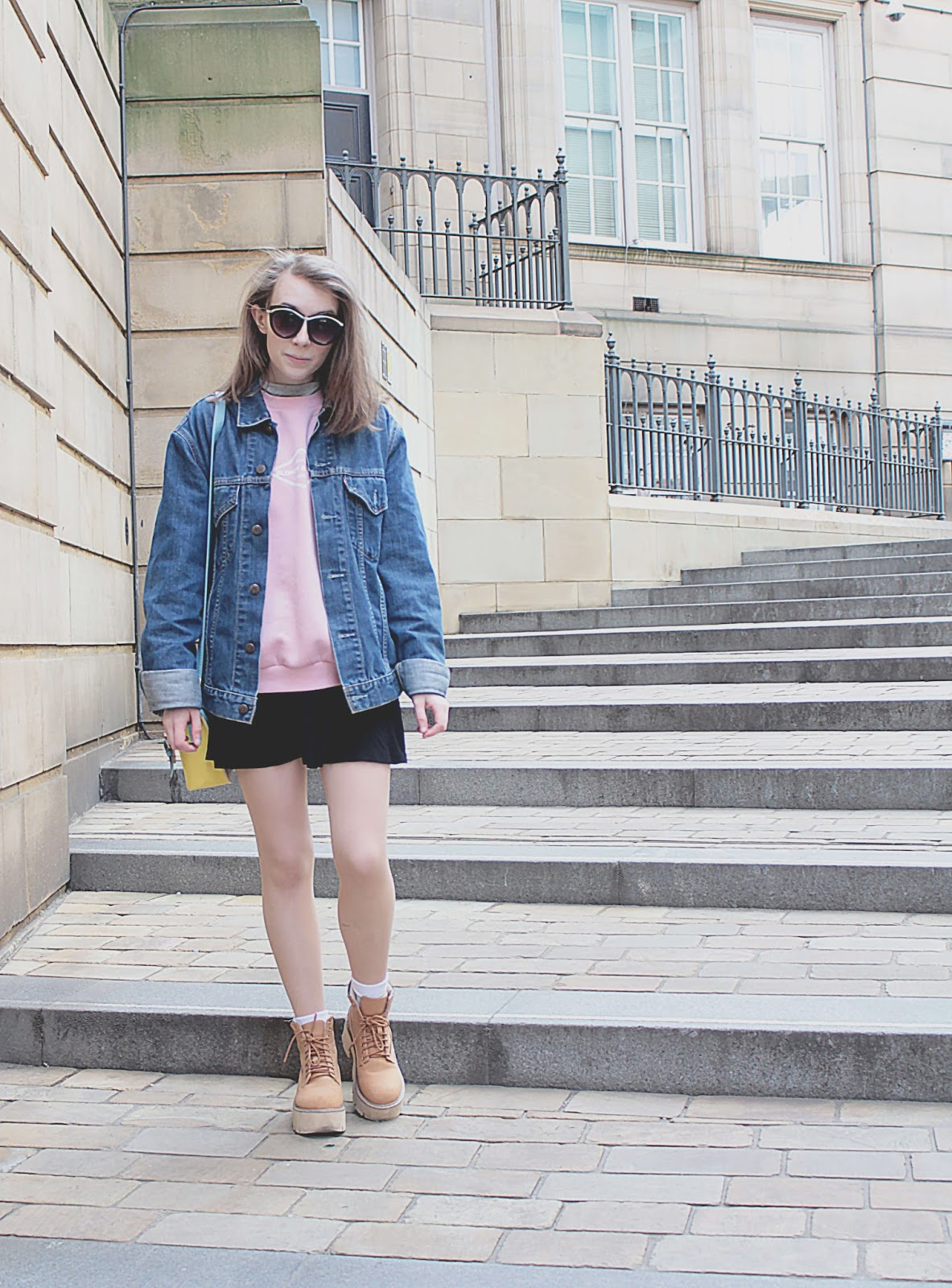 cute spring outfit denim jacket pastel colours uk fashion blogger ootd inspiration