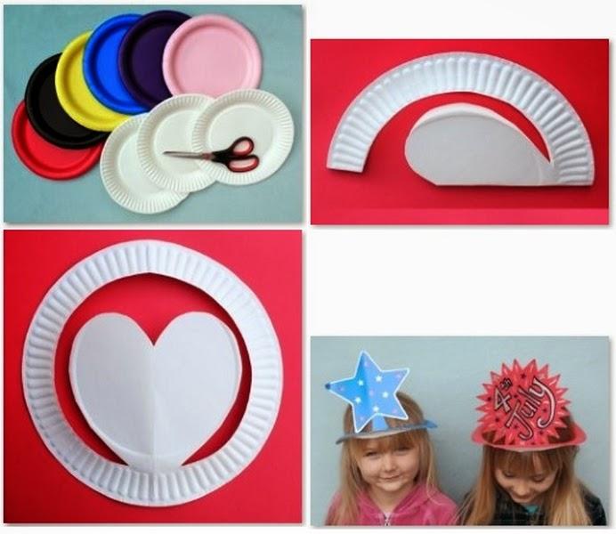 d631204bc6ca6 Una opción creativa y divertida es ésta de hacer sombreros con visera  incluída usando platos ...