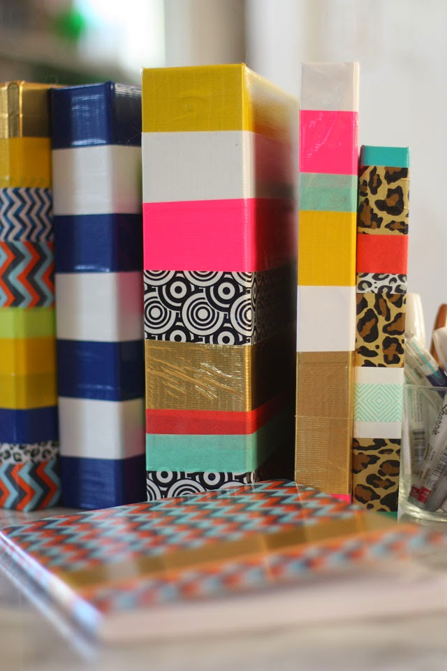 & School Supply Makeover with Tape - Aunt Peaches