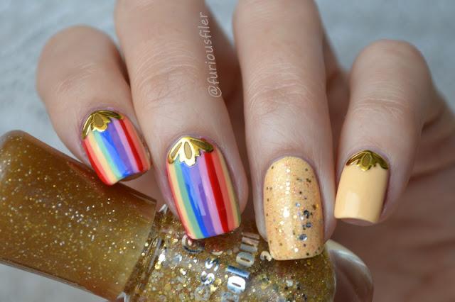 #31dc2015 striped glitter sticker bps nails