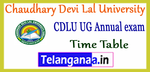 CDLU Chaudhary Devi Lal University UG 1st 2nd 3rd Year Time Table 2018