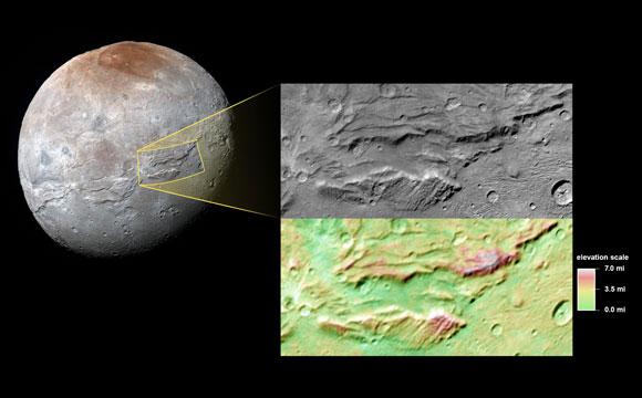 Un primer plano de los cañones de Caronte, la luna más grande de Plutón, tomada por New Horizons durante su aproximacióna Plutón en julio pasado.