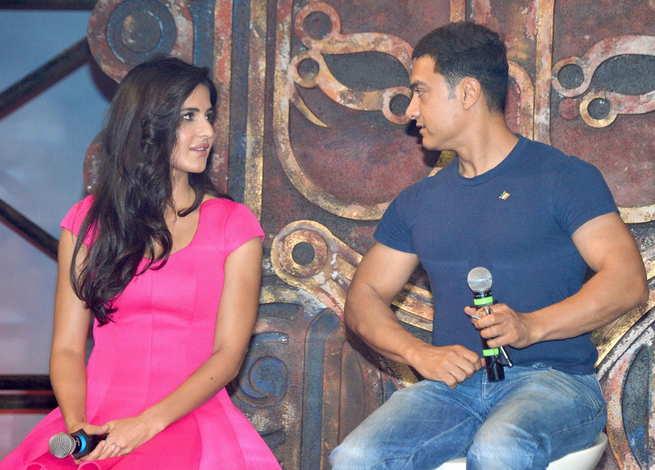 Katrina Kaif with Aamir Khan in dhoom 3 movie