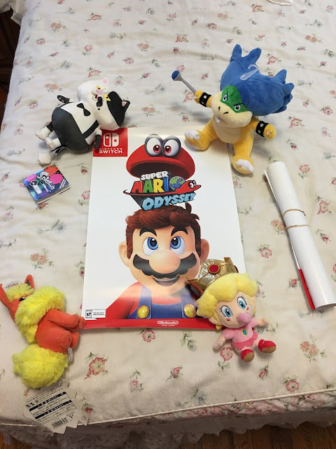 Super Mario Odyssey Nintendo Switch poster NY store Baby Peach Ludwig Judd Flareon plushie