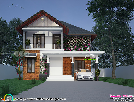 1634 sq-ft 3 bedroom attached sloping roof house