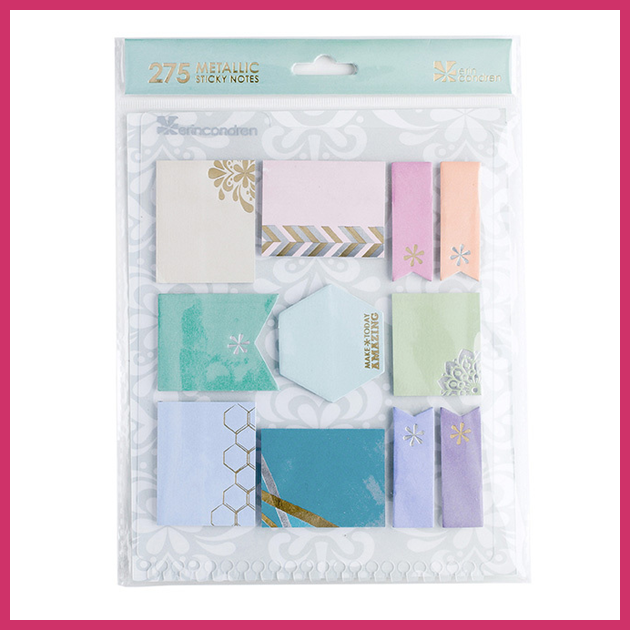 Who wants plain sticky notes when you can have these fabulous metallic ones? I had to have them!