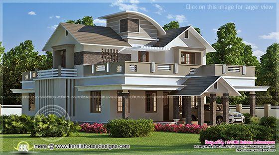 223 Square Meter Villa Exterior Elevation Home Kerala Plans