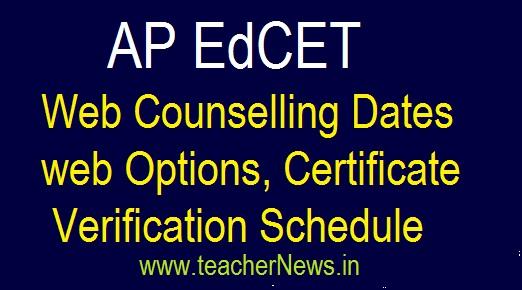 AP EdCET Web Counselling 2018 web Options, Certificate verification Dates
