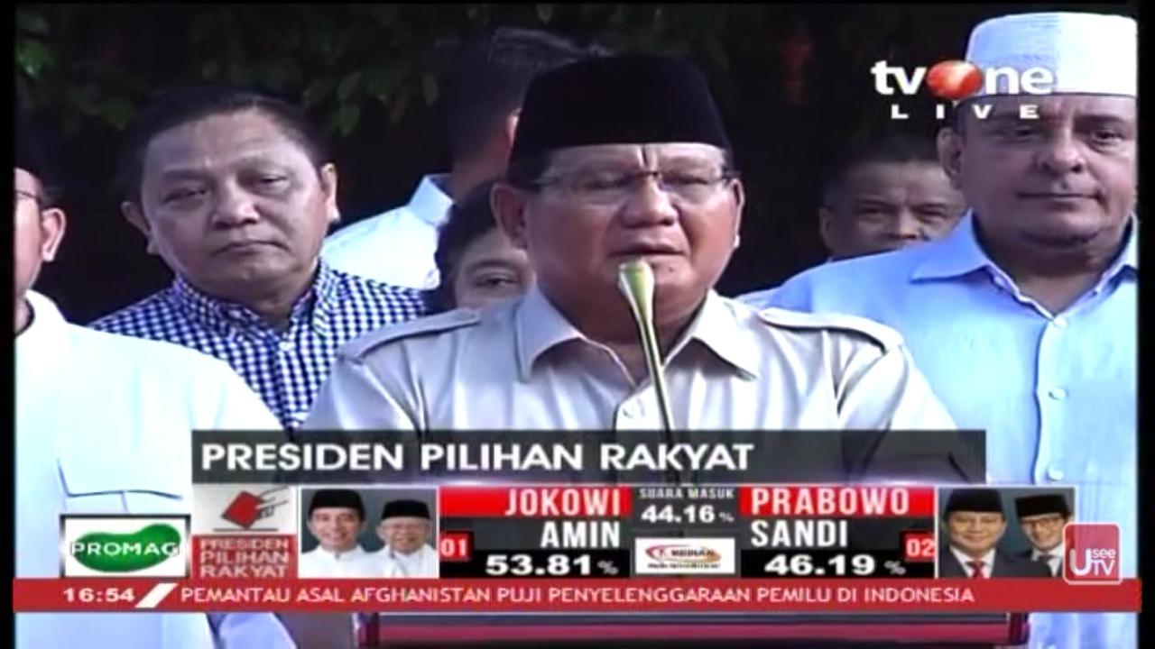 Sikapi Quick Count, Prabowo Umumkan Exit Poll