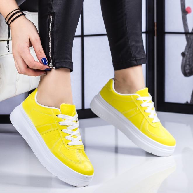 Adidasi femei galbeni cu talpa groasa moderni ieftini la moda