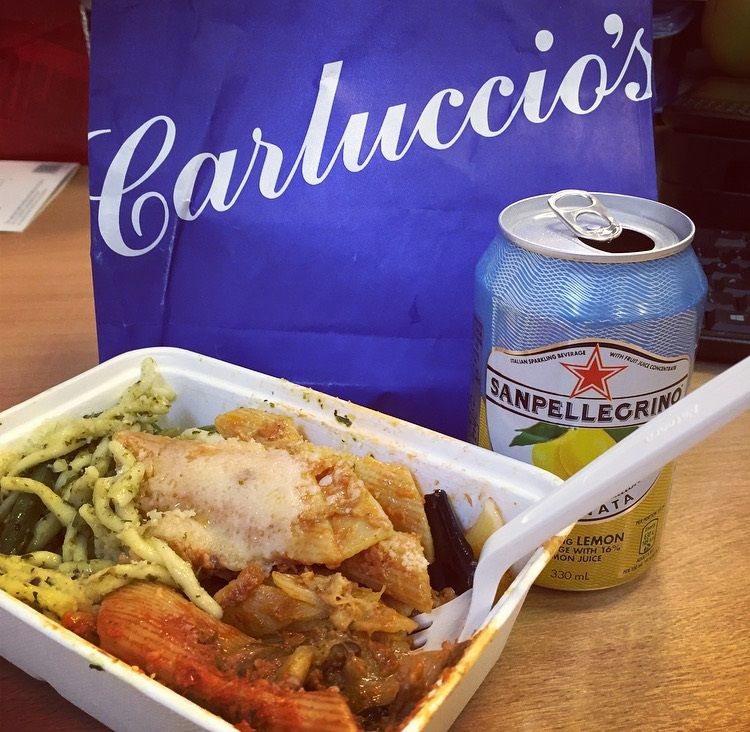 carluccios salad box with lemonade