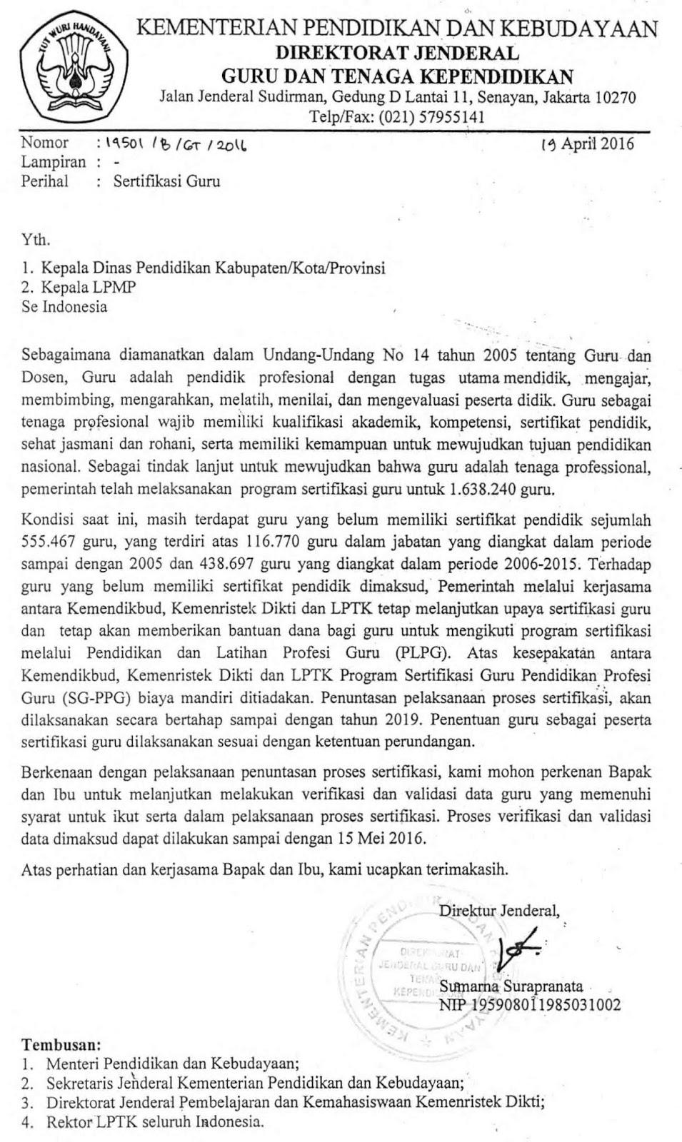 Surat Resmi Ditjen Gtk Tentang Biaya Mandiri Sg Ppg Bagi