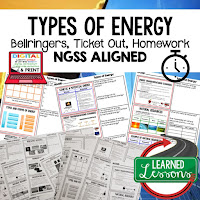 Types of Energy Bellringers, Physical Science Warm-Ups, Science Warm-Ups, Science Inquiry Warm-Ups, Physical Science Bellwork, Science Bellwork, NGSS Bellwork, Science Bellringers