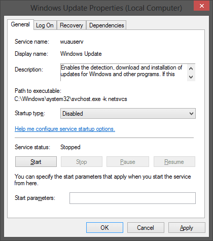 Windows Update Service Dialogue Box