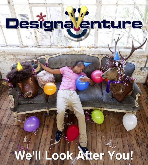 DesignaVenture's logo man partied out on a sofa after a stag do
